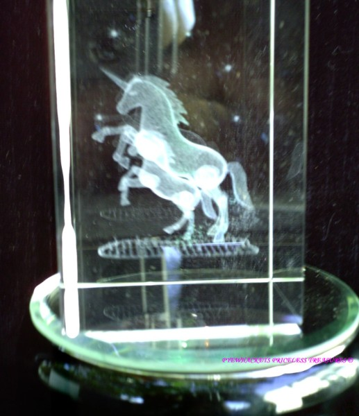 Mother And Baby Unicorn Rectangle Laser Etched Crystal