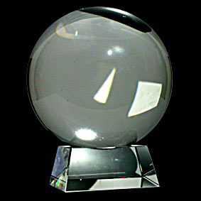 Lead Crystal Ball & Stand 190mm