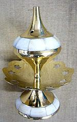 Brass Lotus With Mother Of Pearl Incense Holder
